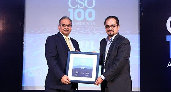 Anup P K, Senior Manager – Risk & Compliance, Biocon receives the CSO100 Award for 2018