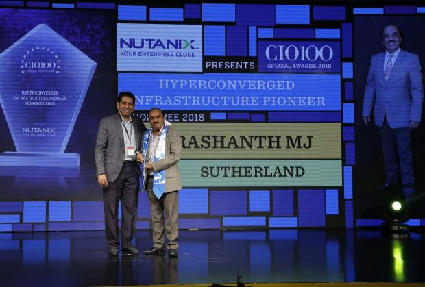 Hyperconverged Infrastructure Pioneer: Prashanth MJ, SVP– Global Technology Operations, Sutherland, receives the CIO100 special award for 2018 from Sunil Mahale, VP & MD Nutanix India