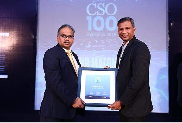 Samir Matondkar, CISO at L&T Defence receives the CSO100 Award for 2018