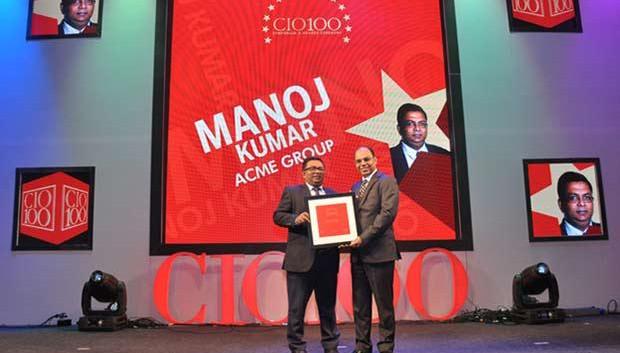 The Transformative 100: Manoj Kumar, Group CIO of ACME Group receives the CIO100 Award for 2016