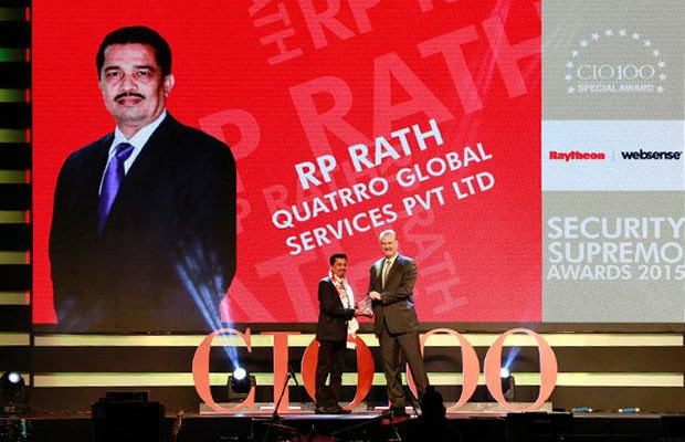 Security Supremo: R P Rath, VP-IT of Quatrro Global Services receives the CIO100 Special Award for 2015 from John McCormack, CEO, Websense