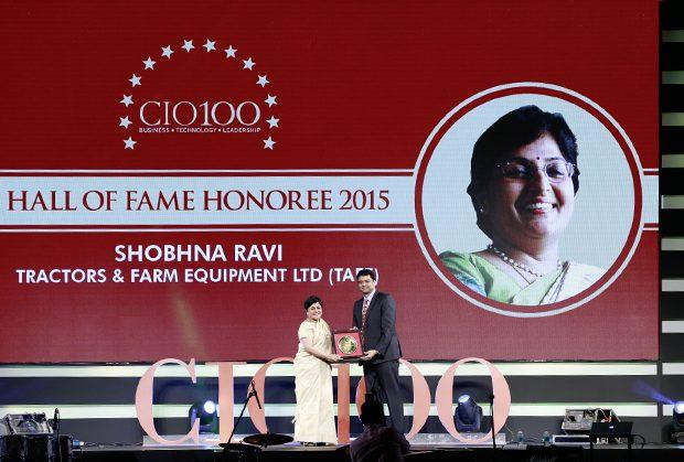 Hall of Fame: Shobhna Ravi, chief information and learning officer of Tractors and Farm Equipment, receives the CIO100 Special Award for 2015