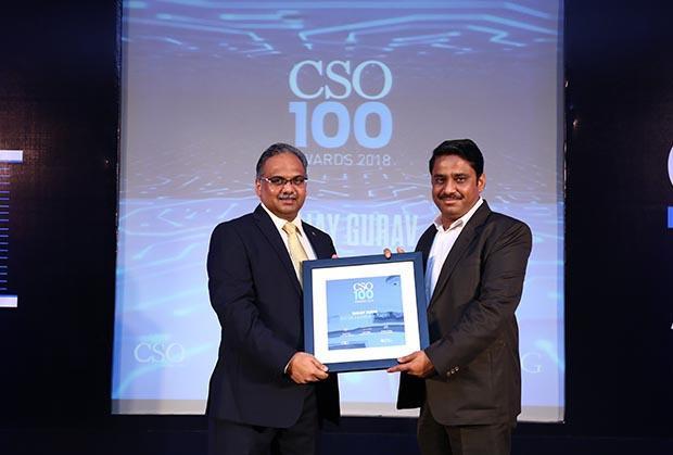 Sanjay Gurav, Manager - IT Infra & Security, Batlivala & Karani Securities receives the CSO100 Award for 2018