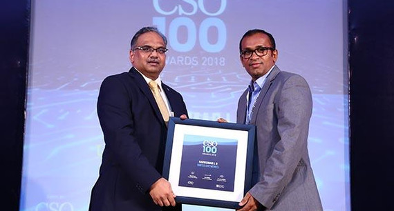 Ravikumar LR, Senior Manager- Policy and Governance at United Breweries receives the CSO100 Award for 2018