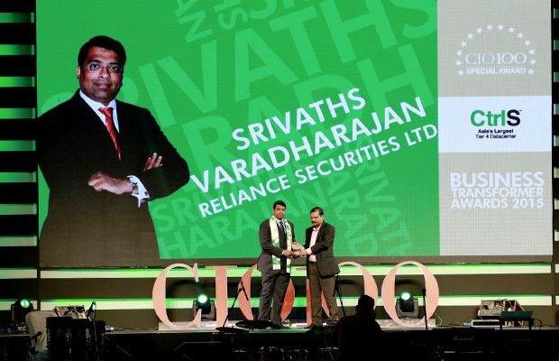 Business Transformer: Srivaths Varadharajan, CTO, Reliance Securities receives the CIO100 Special Award for 2015 from Anil Nama, CIO, CtrlS