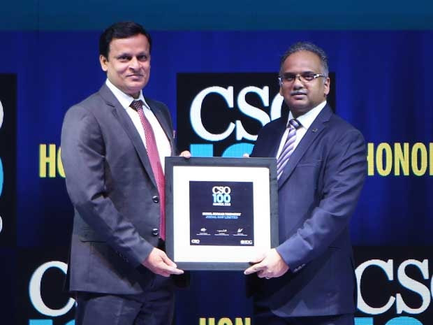 Sunil Tripathy, AGM IT, Security and Infra Lead at Jindal Saw Limited receives the CSO100 Award for 2019