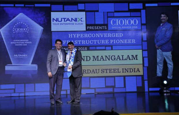 Hyperconverged Infrastructure Pioneer: Anand Mangalam, GM– IT at Gerdau Steel India receives the CIO100 special award for 2018 from Sunil Mahale, VP & MD at Nutanix India