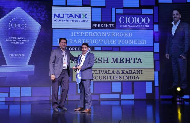 Hyperconverged Infrastructure Pioneer: Mukesh Mehta, CTO, Batlivala & Karani Securities India, receives the CIO100 special award for 2018 from Sunil Mahale, VP & MD Nutanix India