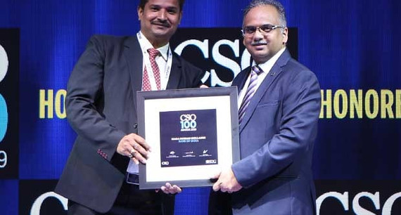 Naga Mohan Gollangi, CISO of Bank of India receives the CSO100 Award for 2019