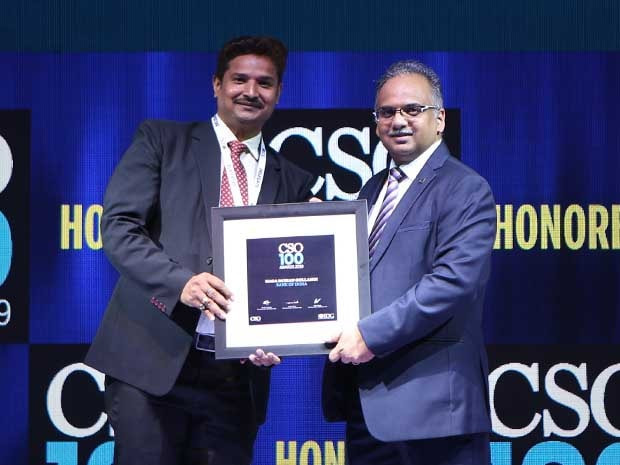 Naga Mohan Gollangi, CISO of Bank of India receives the CSO100 Award for 2019