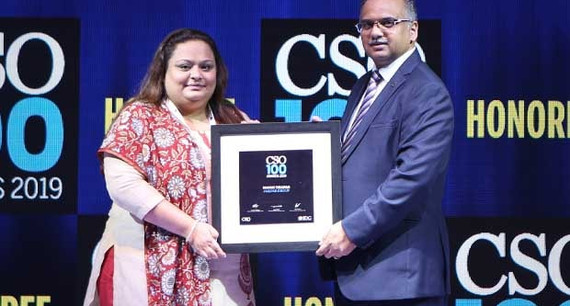 Mansi Thapar, Head Security at Jaquar Group receives the CSO100 Award for 2019