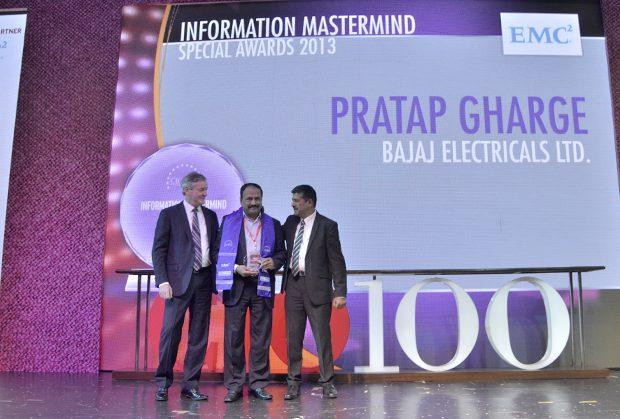 Information Mastermind: Pratap S Gharge, President and CIO of Bajaj Electricals receives the CIO100 Special Award for 2013 from David Webster, President-APJ, EMC India and Rajesh Janey, President-India and SAARC, EMC.