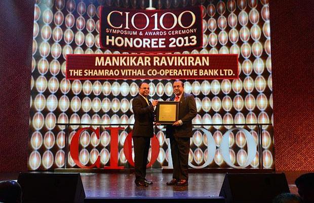 The Astute 100: Ravikiran S Mankikar, Chief GM-IT of The Shamrao Vithal Co-operative Bank receives the CIO100 Award for 2013