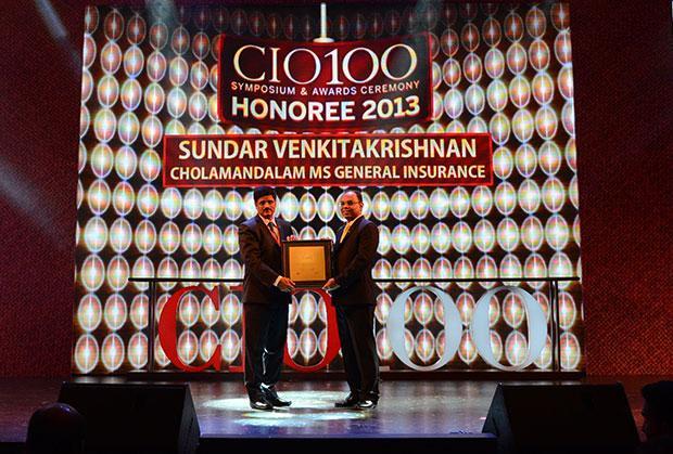 The Astute 100: Sundar Venkitakrishnan, EVP - IT & Ops, Cholamandalam MS General Insurance receives the CIO100 Award for 2013
