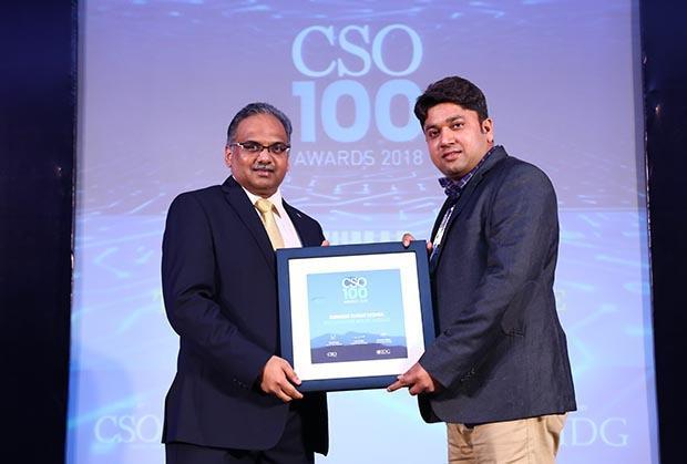 Subhash Kumar Mishra, Head-IT Infra, TATA Singapore Airline (Vistara) receives the CSO100 Award for 2018