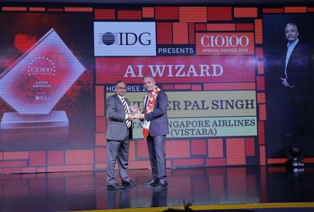 AI Wizard: Ravinder Pal Singh, CIO & Senior VP– Innovation, Tata Singapore Airlines (Vistara), receives the CIO100 special award for 2018