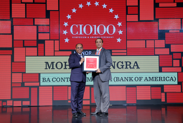 The Digital Architect: Mangesh Chore on behalf Mohit Dhingra, CTO, GIS (Global Information Security) and CTO for GDCE at Bank of America receives the CIO100 Award for 2018