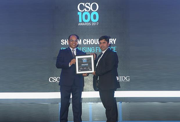 Shivam Choudhary, Chief Manager-IT, PNB Housing Finance receives the CSO100 Award for 2017.