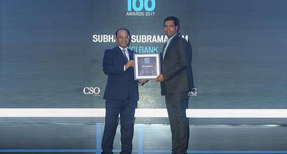 Subhash Subramaniam, CISO, ICICI Bank receives the CSO100 Award for 2017.