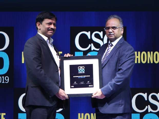 Ravindranath Hirolikar, VP and Global Head, InfoSec, Data Privacy and Business Continuity at EXL Service, receives the CSO100 Award for 2019