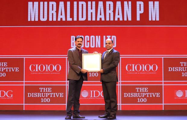 The Disruptive 100: Muralidharan PM, Senior Director–Info-Tech, Biocon receives the CIO100 Award for 2019
