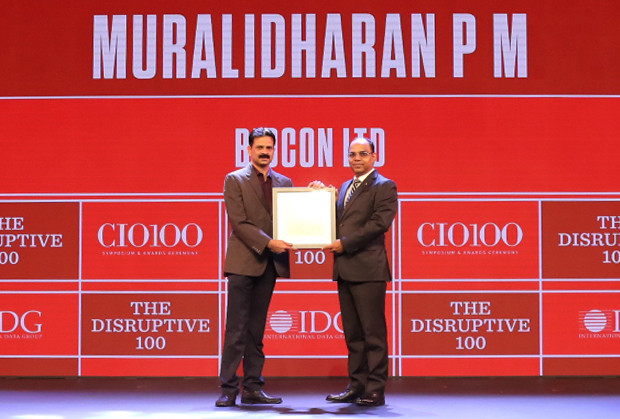 The Disruptive 100: Muralidharan PM, Senior Director–Info-Tech, Biocon receives the CIO100 Award for 2019