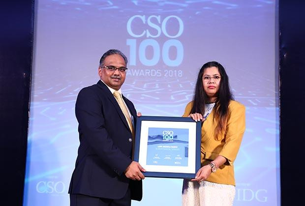 Lopa Mudraa Basuu, Global Director IT Risks Operations at OCWEN receives the CSO100 Award for 2018