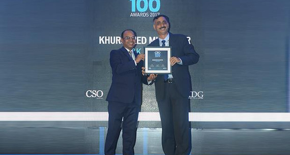 Khursheed Muzaffar is the CISO of Jammu & Kashmir Bank receives the CSO100 Award for 2017.