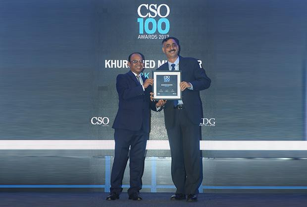 Khursheed Muzaffar is the CISO of Jammu & Kashmir Bank receives the CSO100 Award for 2017.