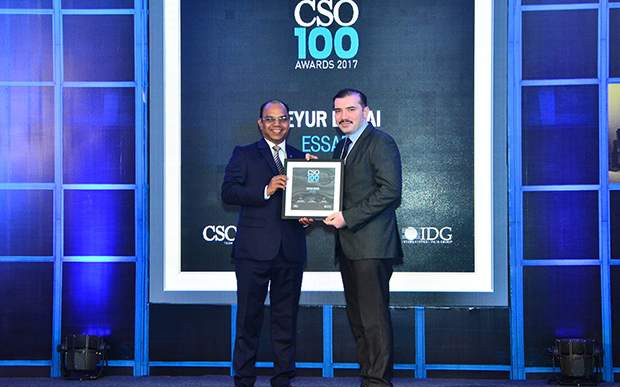 Keyur Desai, CIO at Essar Ports & Shipping, Head InfoSecurity and Communications of Essar receives the CSO100 Award for 2017