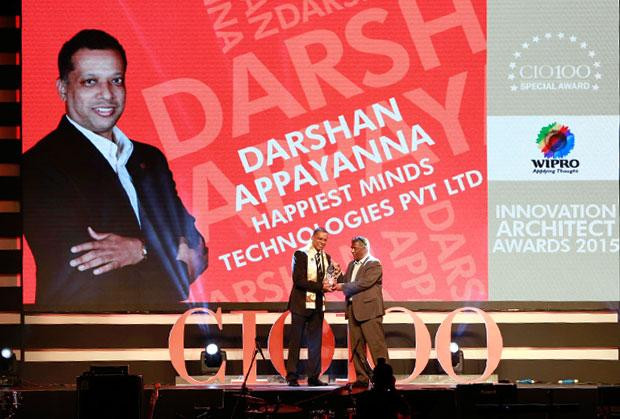 Innovation Architect: Darshan Appayanna, CIO at Happiest Minds Technologies receives the CIO100 Special Award for 2015 from Achuthan Nair, Senior VP and COO, Wipro Infotech