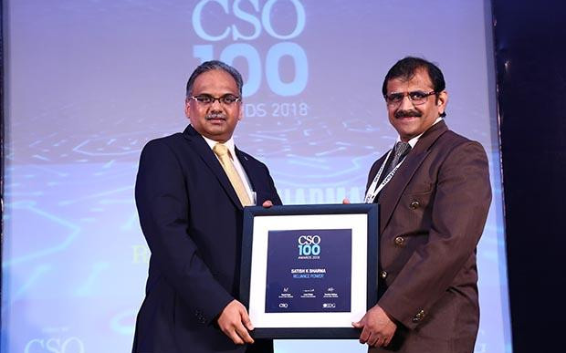 Satish K Sharma, Head Infrastructure And CISO at Reliance Power receives the CSO100 Award for 2018