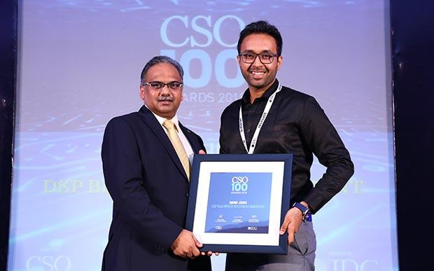 Mihir Joshi, AVP and Information Security Officer - Technology Security of DSP Blackrock Investment Managers receives CSO100 Award for 2018
