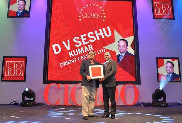 The Transformative 100: D V Seshu Kumar, Senior GM-IT of Orient Cement receives the CIO100 Award for 2016