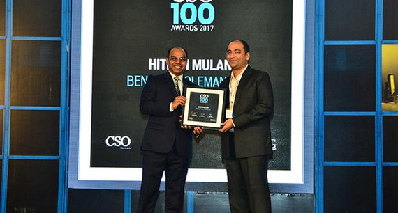 Hitesh Mulani, Vice President & Chief Information Security Officer, Bennett Coleman receives the CSO100 Award for 2017