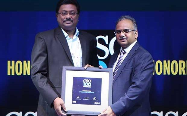 S Srikanth, CISO at TVS Motor Company receives CSO100 Award for 2019