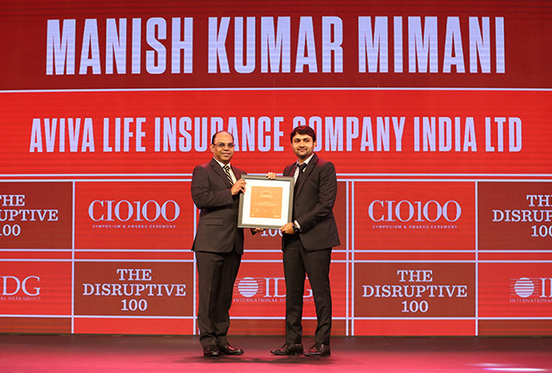 The Disruptive 100: Manish Mimani, Senior VP & Head IT, Aviva Life Insurance Company India receives the CIO100 Award for 2019