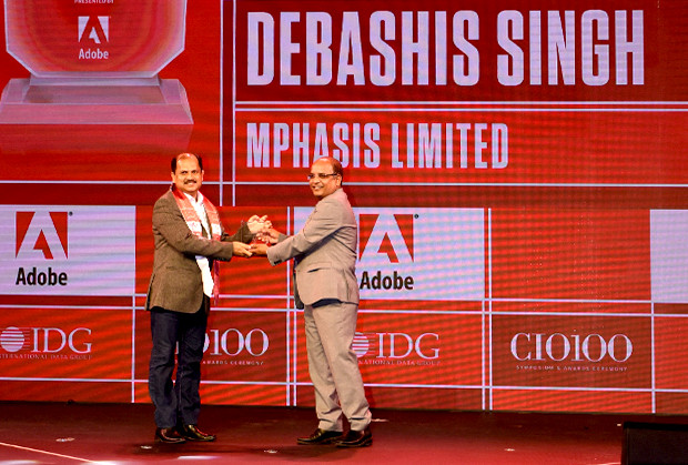 Customer Experience Icon: Debashis Singh, SVP & CIO, Mphasis receives the CIO100 Special Award for 2019 from Narsimha Rao, Sales Director, Adobe