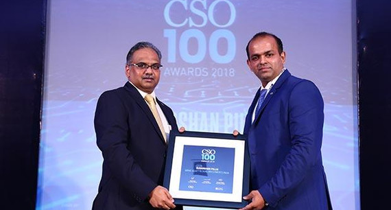 Sudarshan Pillai, Senior Manager-IT at Mirae Asset Global Investments India receives the CSO100 Award for 2018