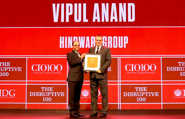 The Disruptive 100: Vipul Anand, SVP-IT & Chief Information Officer, Hindware Group receives the CIO100 Award for 2019