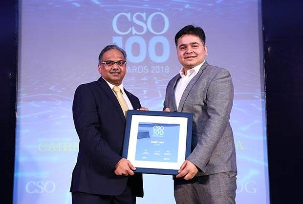 Gomeet Pant, Group IT Security, Cairn Oil & Gas, Vedanta receives the CSO100 Award for 2018