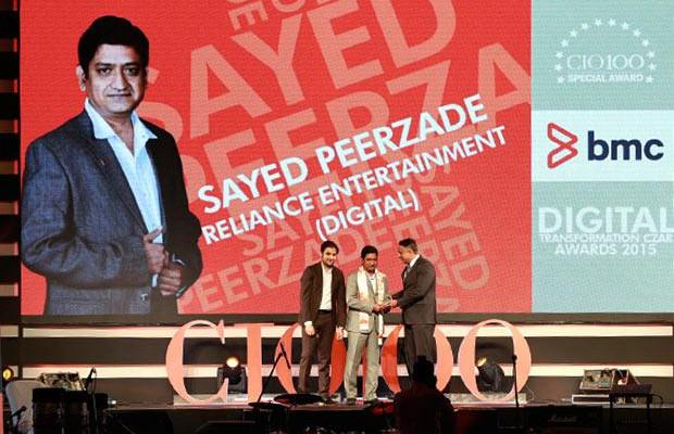 Digital Transformation Czar: Sayed Peerzade, VP-Technology of Reliance Big Entertainment receives the CIO100 Special Award for 2015 from Suhas Kelkar, VP and CTO-APAC, BMC Software