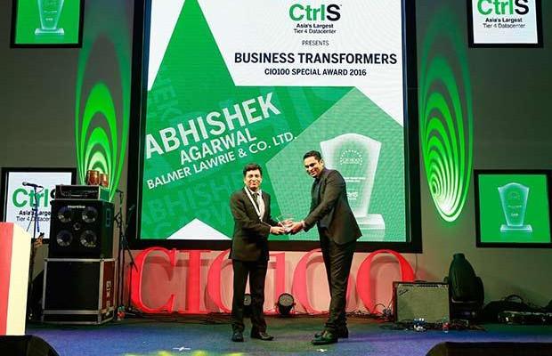 The Transformative 100: Abhishek Agarwal, SVP & CIO, Balmer Lawrie & Co. receives the CIO100 Award for 2016