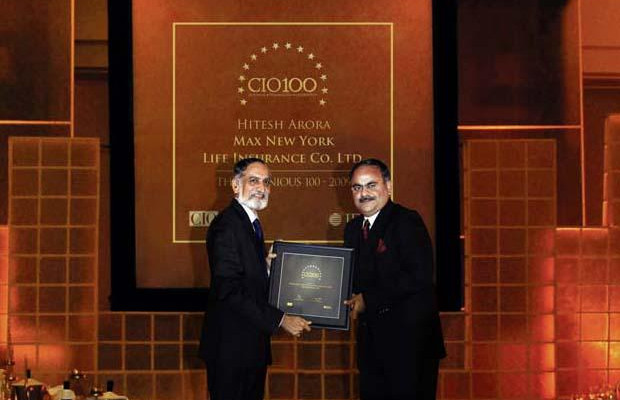 The Ingenious 100: Hitesh Arora, Director and Head-IT at Max New York Life Insurance receives the CIO100 Award for 2009