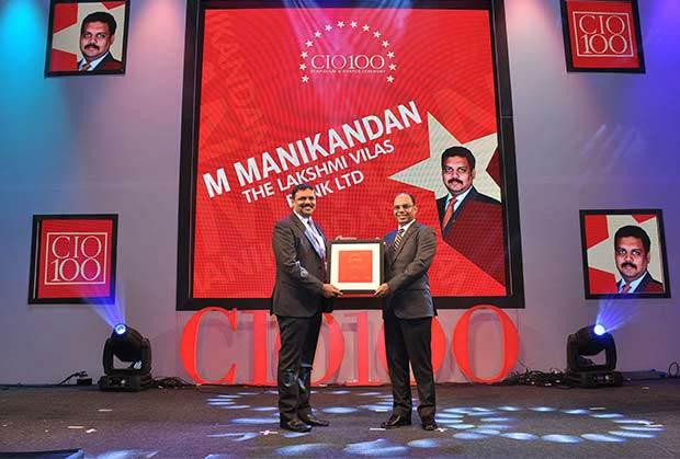 Networking Pioneer: M Manikandan, DGM-IT of The Lakshmi Vilas Bank receives the CIO100 Special Award for 2013 from Ravi Chauhan, MD, India and SAARC, Juniper Networks