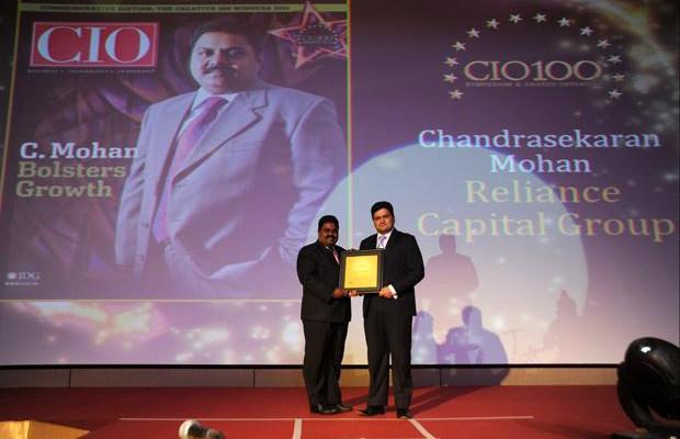The Creative 100: Chandrasekaran Mohan, CTO of Reliance Capital receives the CIO100 Award for 2011