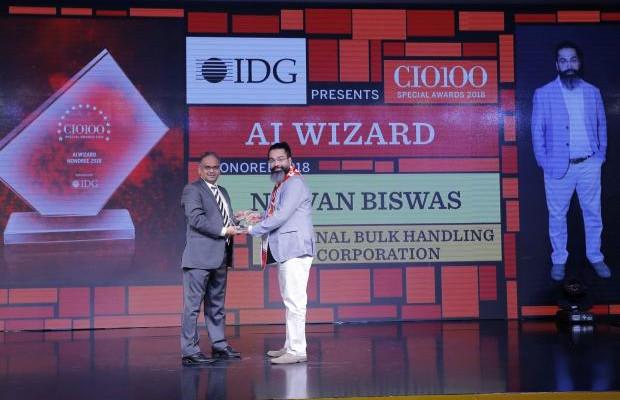AI Wizard: Nirvan Biswas, CIO of National Bulk Handling, receives the CIO100 special award for 2018