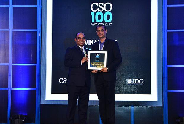 Vikas Ojha, CISO & Senior Manager Infrastructure, Canon India receives the CSO100 Award for 2017.