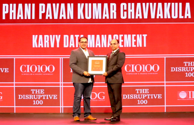 The Disruptive 100: Pavan Chavvakula, Vice president – IT head, Karvy Data Management Services receives the CIO100 Award for 2019