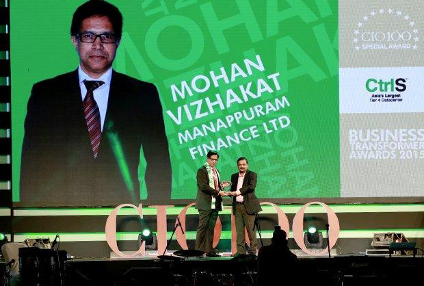 Business Transformer: Mohan Vizahakat, CTO & VP of Manappuram Finance receives the CIO100 Special Award for 2015 from Anil Nama, CIO, CtrlS.